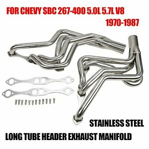 Stainless Steel Long Tube Header Exhaust Manifold For 70 87 Chevy Sbc 267 400 V8