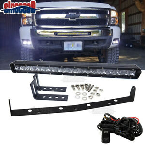 For Silverado 1500 2500 3500 Hd Front Bumper Grille Single Row Led Light Bar Kit