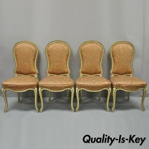 4 Italian Provincial French Hollywood Regency Upholstered Dining Side Chairs