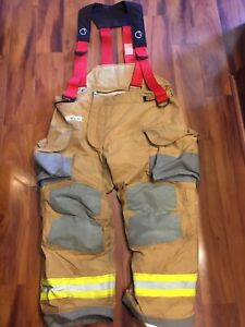 Firefighter Janesville Lion Apparel Turnout Bunker Pants 46x30 2009 W Suspenders