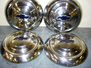 Vintage 4 Chevrolet Hub Cap Wheel Cover Dog Dish Late 40s To Mid 50s Oem