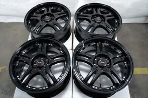 16 4x100 4x114 3 Black Wheels Fits Accord Civic Spark Tiburon Miata 4 Lug Rims