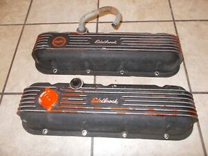 Vintage Edelbrock Cat no 4180 Aluminum Valve Covers 396 427 454 Chevrolet Bbc