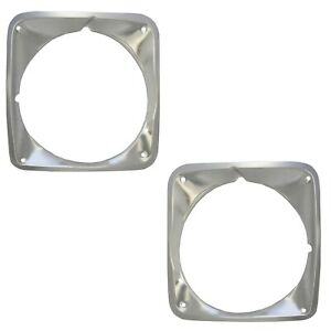 1969 1972 Chevy Pickup Truck Headlight Headlamp Bezels Pair Aluminum Polished