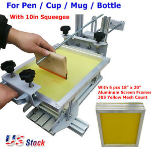 Usa Manual Cylinder Screen Printing Press With 10 Squeegee 6pcs Screen Frames