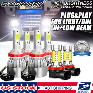 Cob Led Headlight Bulbs fog Lights Kit Total 125000lm For Freightliner Cascadia