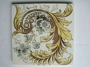 Antique Victorian H A Ollivant Print And Tint Wall Tile C1890 1900 No 514