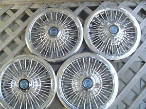 1965 1966 Ford Galaxie Mustang 15 In Wire Spinner Hubcaps Wheel Covers Vintage