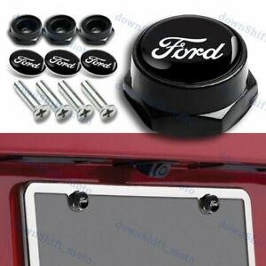 4pcs For Ford Racing Car License Plate Frame Security Screw Bolt Caps Covers Set