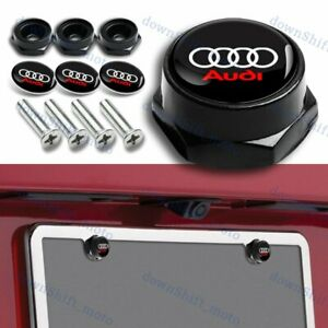 4pcs Racing Car License Plate Frame Black Screw Bolt Cap Cover Screw For Audi
