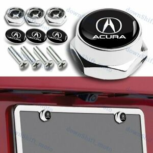 Car Chrome Metal License Plate Frame Screw Bolt Cap Cover Frame Holder For Acura