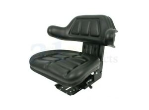 Ford New Holland Tractor Seat W Wrap Around Back With Arms Black Vinyl