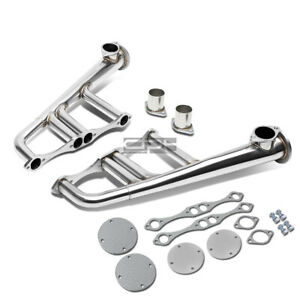 Fit Sbc Rods Stainless Steel Lake Style Header Megaphone Plates Exhaust Flanges