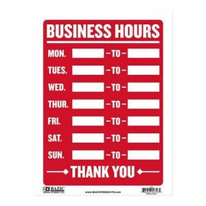 2 Pack Business Hours Sign Durable Plastic Weatherproof 9 Inch X 12 Inch