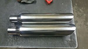 18 Stainless Exhaust Tips 2 25 Inlet 3 5 Outlet shocker Logo