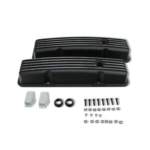 For 58 86 Small Block 327 350 Chevy Sbc Short Black Finned Valve Cover W Hole