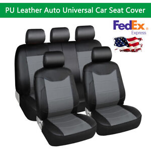 Pu Leather Universal Car Seat Cover Waterproo Front Rear Full Set Auto Interior
