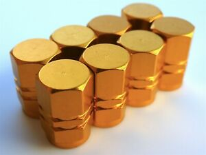 Tire Valve Stem Caps For Car Truck Bike Motorcycle 2 Sets Yellow Gold