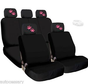 For Ford New 4x Pink Paws Logo Headrest And Black Fabric Seat Covers