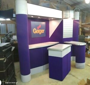 Trade Show Booth Abex 600 Fabric Display System Expo Pop up Display Purple Grey