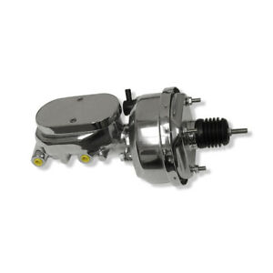 Chrome 7 Single Power Brake Booster Smooth Top Master Cylinder 1 Bore 4 Port