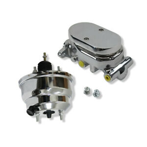 8 Dual Chrome Power Brake Booster W Dual Bowl Flat Top Chrome Master Cylinder