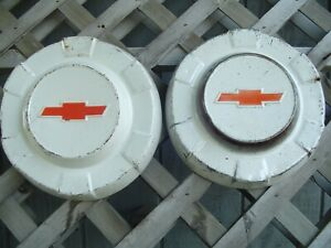 Two Vintage Chevy Chevrolet Apache Cameo Pickup Truck Hubcaps Wheel Covers