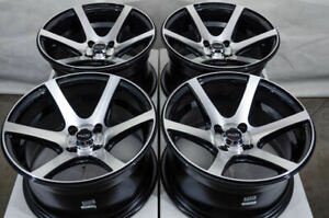 15x8 4x100 Black Wheels Fits Smart Fortwo Passion Accent Cobalt Aveo Civic Rims