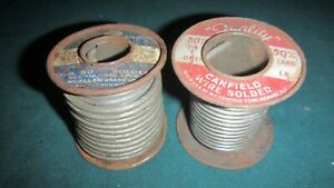 Vtg 2 Ct Lot Rolls 60 40 Tin Lead Mueller Canfield Wire Solder New Old Stock