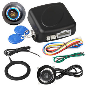 12v Car Engine Push Start Stop Button Ignition Rfid Keyless Remote Starter Alarm