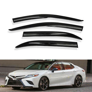 For 18 19 Toyota Camry Sport Mugen Style 3d Wavy Black Tinted Window Visor Vent