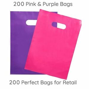 100 Merchandise Bags 12 x15 Purple Teal Retail Events Shopping Gift Plastic