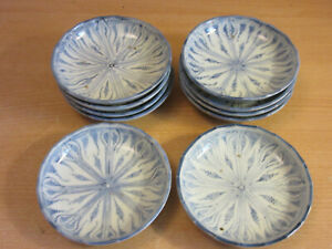 Set Of 10 Vintage Antique Chinese Small Blue White Dishes Plates 4 1 8