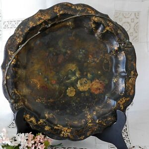 Antique Victorian Round Tole Painted Tray W Basket Brass Handle