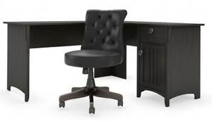 l Shaped Desk With Tufted Chair In Vintage Black id 3842207
