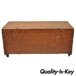 19th C Antique Brown Distress Painted Pine Wood Dovetailed Blanket Chest Trunk