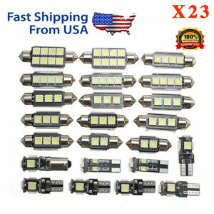 23pcs Led Car Light Bulb Interior Map Dome License Trunk Plate White Lamps Kit