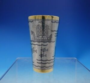 Russian 875 Silver Niello Cup With Boats Ships And Fish Gw Band 3903