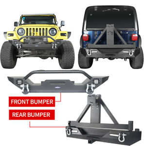 Texture Black Front Rear Bumper W Tire Carrier For Jeep Wrangler Tj 97 06