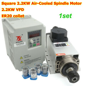 in Los Angeles square 2 2kw Air Cooled Spindle Motor 2 2kw Vfd Er20 Collet