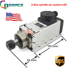 Air cooled Spindle Motor Er20 Square 2 2kw 24000rpm For Cnc Router