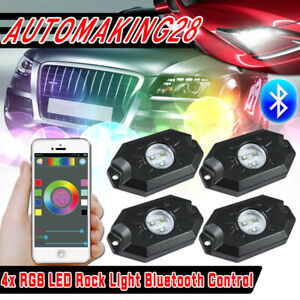 4pcs Rgb Led Pod Rock Light Neon Led Light Kit Bluetooth For Jeep Off Road Truck