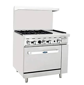 Atosa Range 36 in Gas Range 4 burner 12 Right Griddle Ato 4b12g