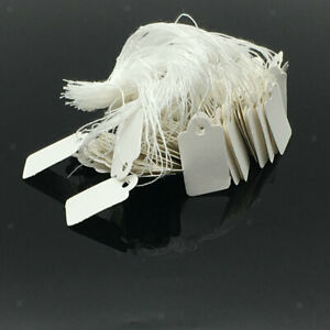 White Blank Writable Price Tags Message Cards X1000 With String Clothing Tag