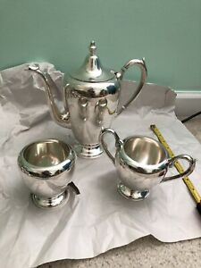 F B Rogers Sterling Silver Teapot 400 Set 3 Pcs Total 930 Grams No Monogram