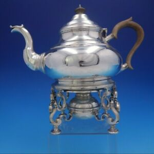 Estate Period English Sterling Silver Kettle With Wood Handle On Stand 4140