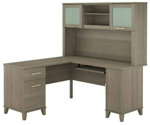 L shaped Desk With Hutch In Ash Gray Finish id 3906522