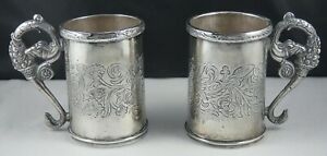 Two Vintage Sterling Silver Mugs