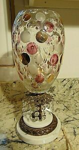 Hollywood Regency Bohemian Coin Dot Lamp Marble Chic Shabby Antique