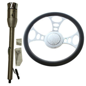 14 Chrome Steering Wheel And Manual Column 28 Gm No Key Adapter And Horn Button